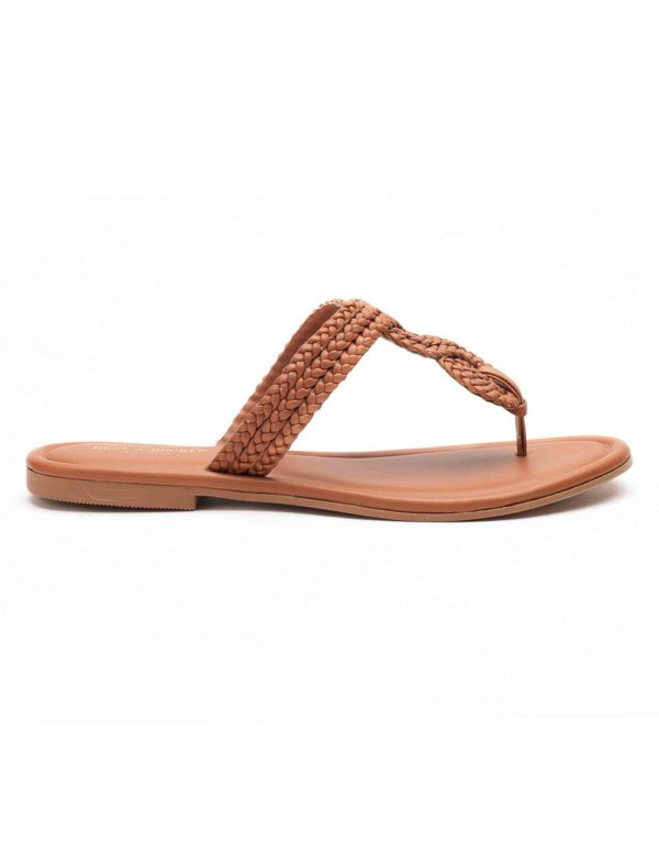 Heel _ Buckle London-Shoes-HBDARW094-Tan Knotted Flat Sandals-1