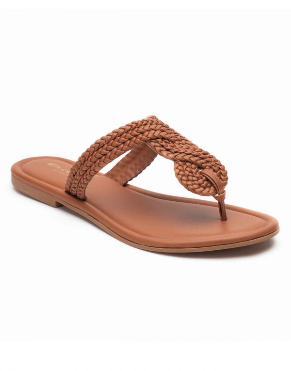 Heel _ Buckle London-Shoes-HBDARW094-Tan Knotted Flat Sandals-2
