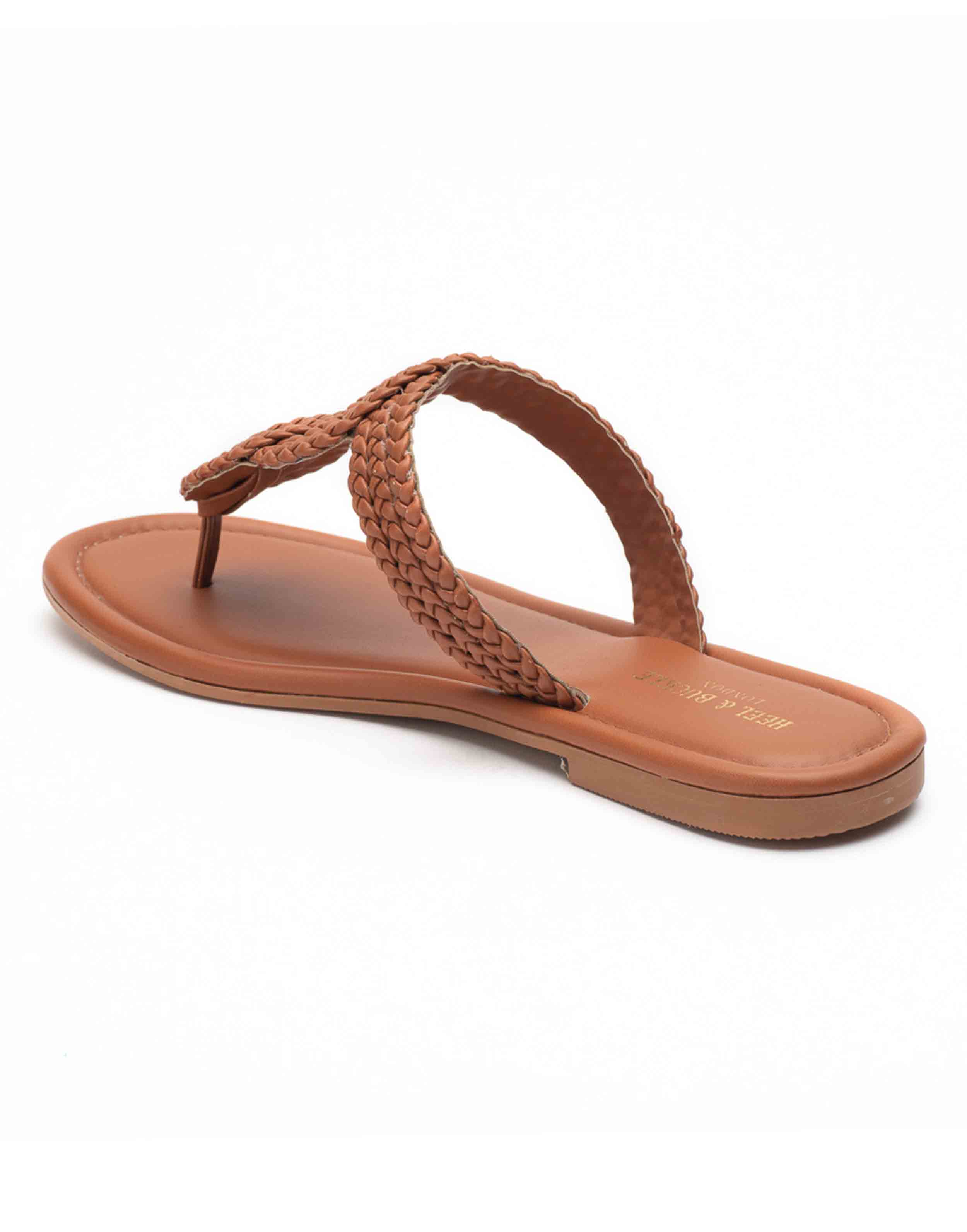 Heel _ Buckle London-Shoes-HBDARW094-Tan Knotted Flat Sandals-3