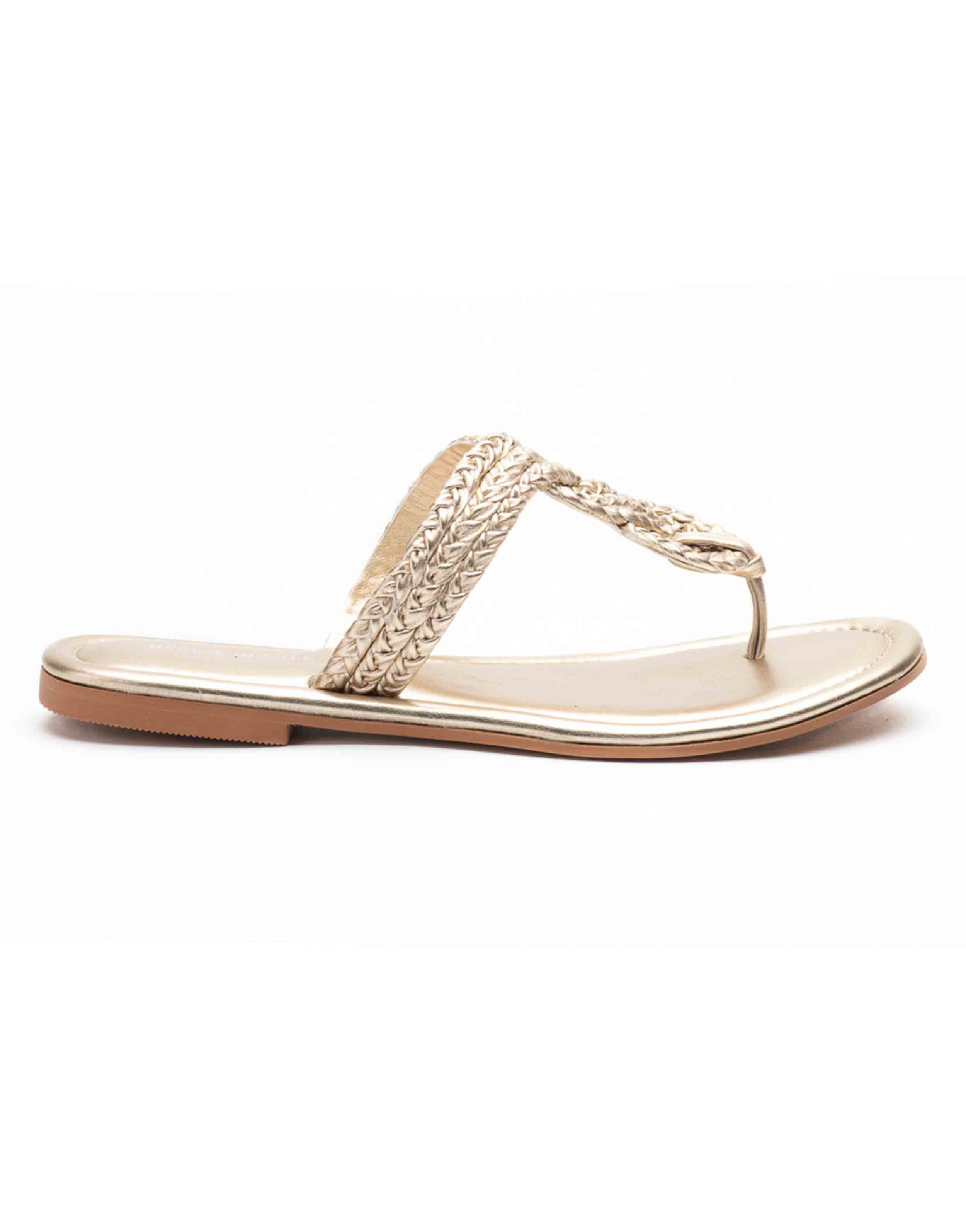 Heel _ Buckle London-Shoes-HBDARW095-GOdl Knotted Flat Sandals-Champagne Gold-1
