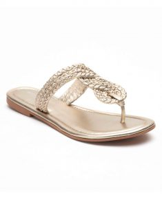 Heel _ Buckle London-Shoes-HBDARW095-GOdl Knotted Flat Sandals-Champagne Gold-2