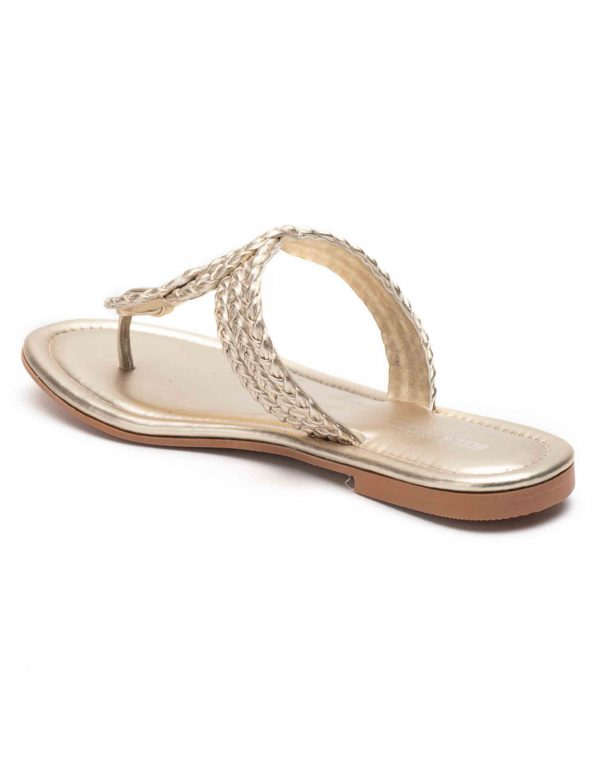 Heel _ Buckle London-Shoes-HBDARW095-GOdl Knotted Flat Sandals-Champagne Gold-3