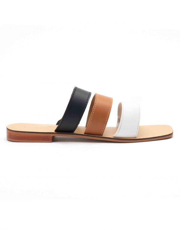 Heel _ Buckle London-Shoes-HBDARW100-Tri-colour Strap Flat Sandals-1