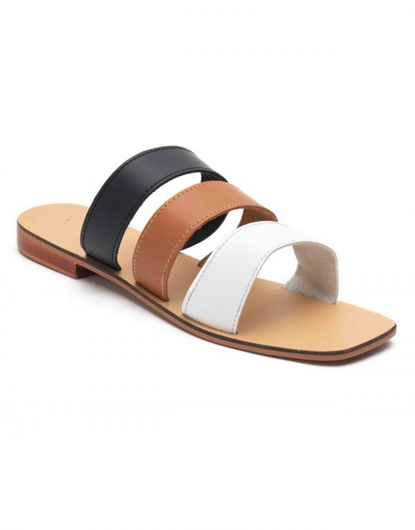 Heel _ Buckle London-Shoes-HBDARW100-Tri-colour Strap Flat Sandals-2