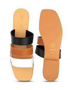 Heel _ Buckle London-Shoes-HBDARW100-Tri-colour Strap Flat Sandals-4