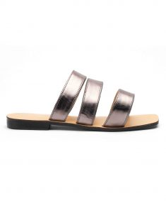 Heel _ Buckle London-Shoes-HBDARW101-Metalllic Grey Strap Flat Sandals-1