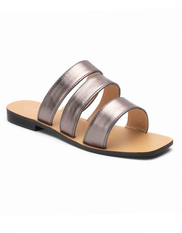 Heel _ Buckle London-Shoes-HBDARW101-Metalllic Grey Strap Flat Sandals-2