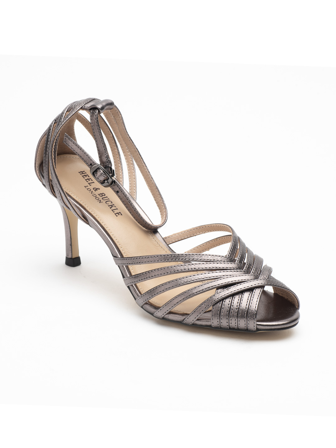 Heel & Buckle London-Shoes-HBDARW088-Metallic Gold Ankle Strap Sandals-Metallic grey-2