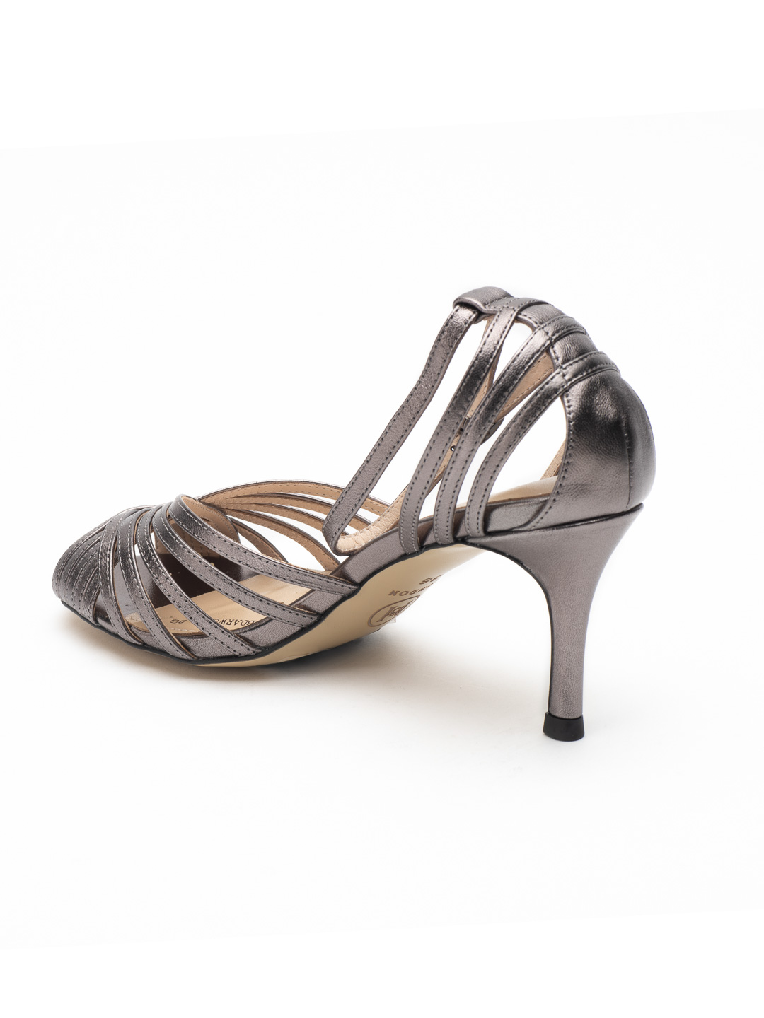 Heel & Buckle London-Shoes-HBDARW088-Metallic Gold Ankle Strap Sandals-Metallic grey-3