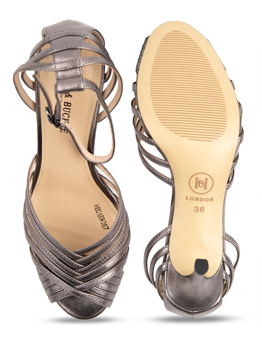 Heel & Buckle London-Shoes-HBDARW088-Metallic Gold Ankle Strap Sandals-Metallic grey-4
