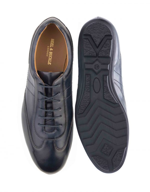 HEEL _ BUCKLE LONDON NAVY LEATHER SNEAKERS_4